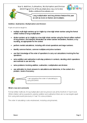 Preview of worksheet Programme of Study: Year 6 Addition Subtraction Multiplication Division