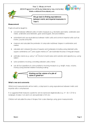 Preview of worksheet Programme of Study: Year 5 Measurement