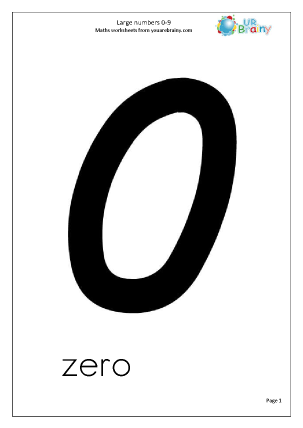 Number Cards 0-9 Larger