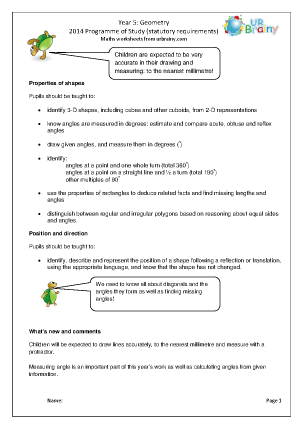 Preview of worksheet Programme of Study: Year 5 Geometry