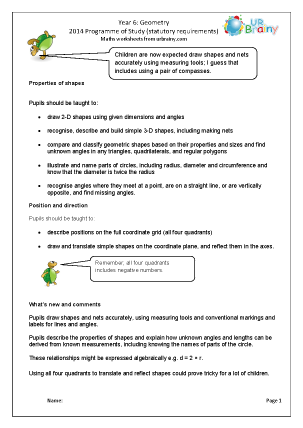 Preview of worksheet Programme of Study: Year 6 Geometry
