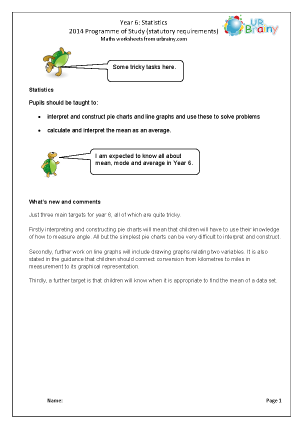 Preview of worksheet Programme of Study: Year 6 Statistics