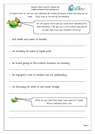 Preview of worksheet Capital letters and full stops (3)