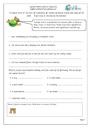 Preview of worksheet More capital letters and full stops