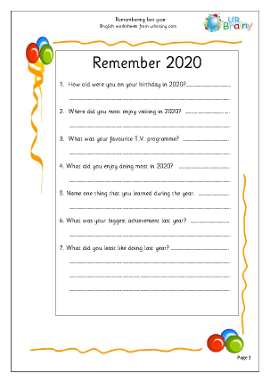 Preview of worksheet New Year: remembering last year