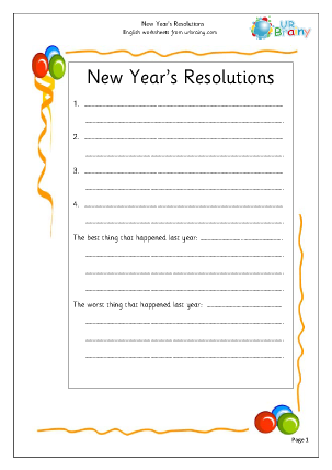 Preview of worksheet New Year's Resolutions (2)