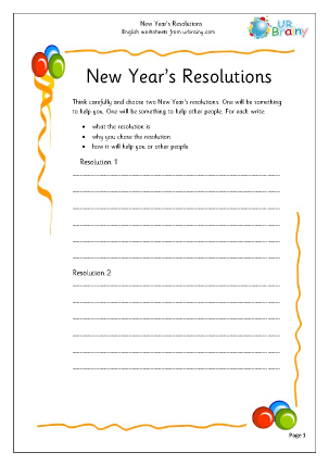 Preview of worksheet New Year Resolutions (3)