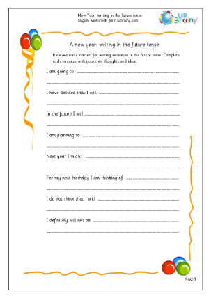 Preview of worksheet New Year: writing in the future tense