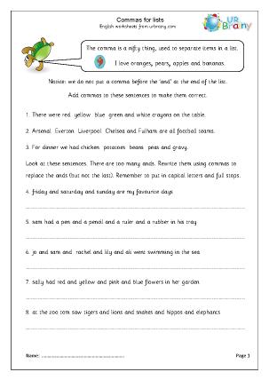 Printables Commas In A Series Worksheet using commas in a series worksheet pichaglobal