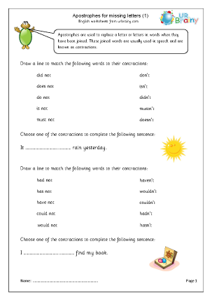 Preview of worksheet Apostrophes (1)