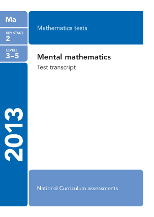Maths Mental Arithmetic Questions 2013