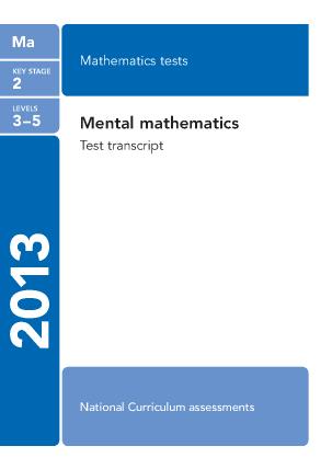 Maths Mental Arithmetic Questions 2013