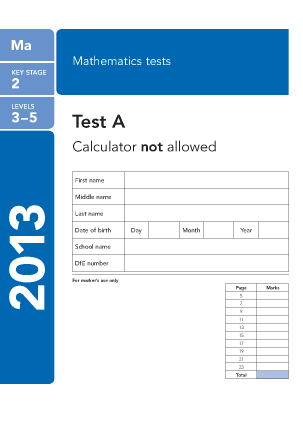 Preview of worksheet Maths Paper A 2013