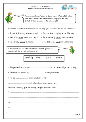 Preview of worksheet Adverbs: introduction
