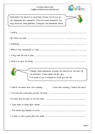 Preview of worksheet Fronted adverbials
