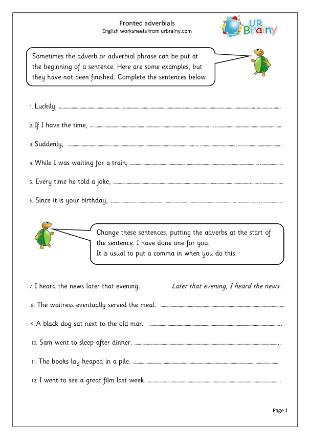 Preview of 'Fronted adverbials'