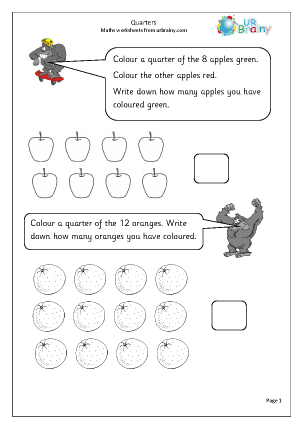 Preview of worksheet Find a quarter of small numbers