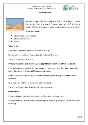 Preview of worksheet Maths Game: Pyramid Circles