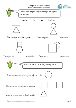 Preview of worksheet Begin to use prepositions