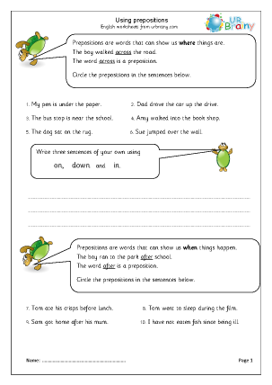 Preview of worksheet Using prepositions