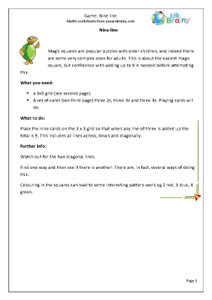 Preview of worksheet Maths Game: Nine Line
