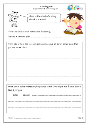 Preview of worksheet Homework (Cunning plan)