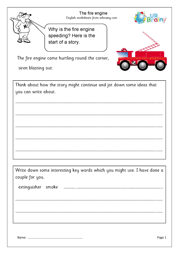 The Fire Engine - Story Writing By URBrainy.com