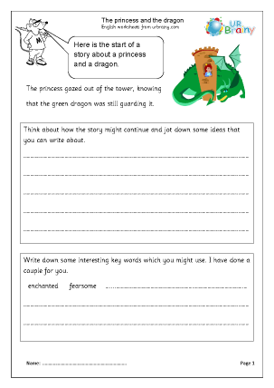Preview of worksheet The Princess and the Dragon