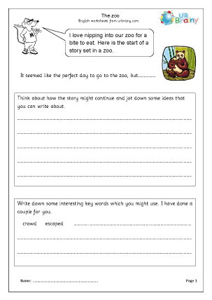 Preview of worksheet Zoo