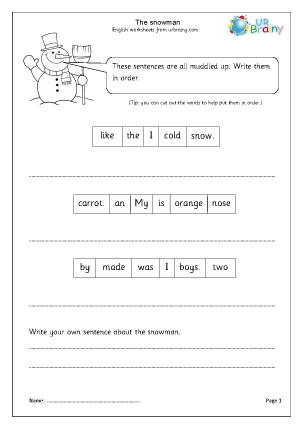 Preview of worksheet The Snowman (Year 1/2)