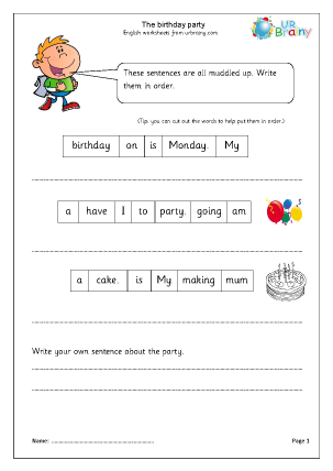 Preview of worksheet The Birthday Party (Year 1/2)