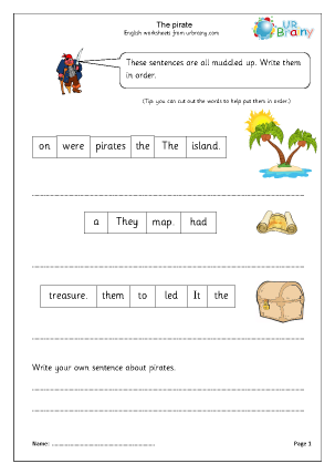 The Pirate Year 1 2 English Worksheet For Key Stage 1