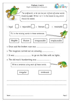 Preview of worksheet Prefixes: il and ir