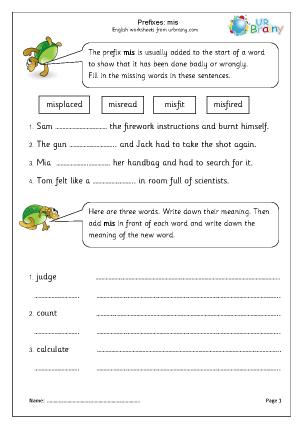 Preview of worksheet Prefix: mis