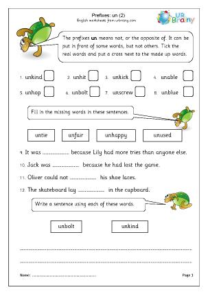Preview of worksheet Prefix: un (2)