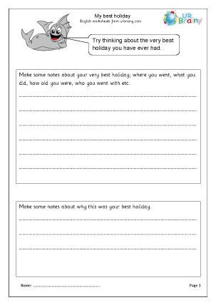 Preview of worksheet Best holiday