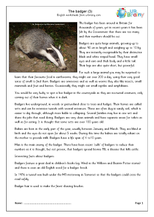 Preview of worksheet Badgers (3)