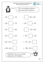 Subtraction: complete number sentences (2)