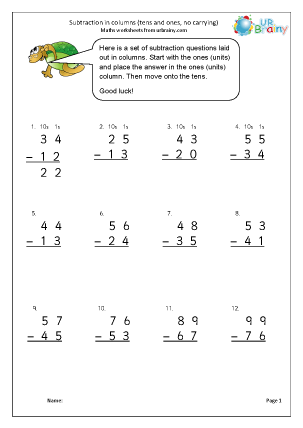 URBrainy Maths Worksheets Year 2 (age 6-7) Subtraction Subtraction in ...
