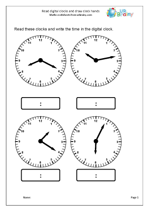 Preview of worksheet Read digital clocks