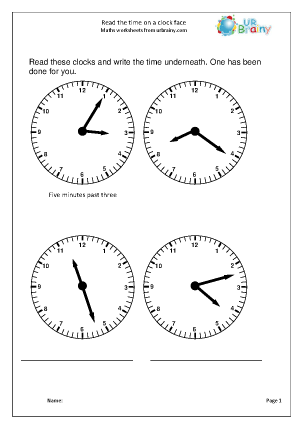 Preview of worksheet Read time to the minute
