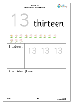 writing the number 13 reading and writing numbers maths worksheets for year 1 age 5 6. Black Bedroom Furniture Sets. Home Design Ideas
