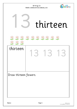 Preview of worksheet Writing the number 13