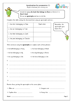 URBrainy English Worksheets Grammar Punctuation - middle/upper ...