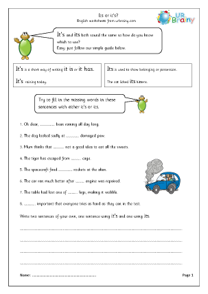 Preview of worksheet Apostrophes: its or it's