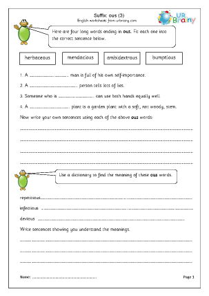 Preview of worksheet Suffix: ous 3