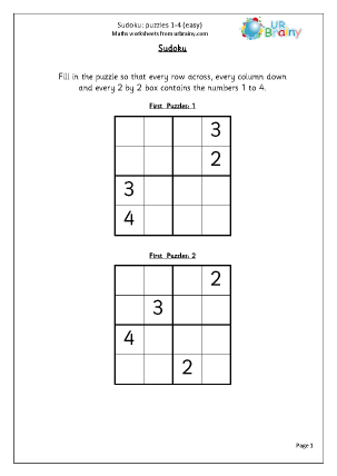 Preview of worksheet Sudoku 1 to 4 (easy)