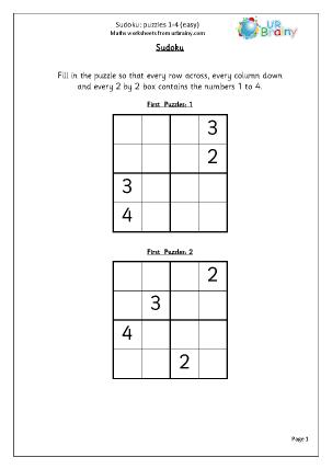 Sudoku 1 to 4 (easy)