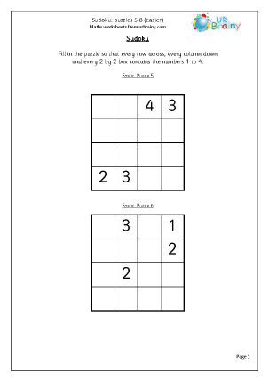 Sudoku 5 to 8 (easier)