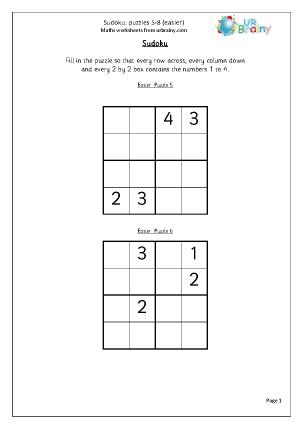 Sudoku 5 to 8 (easier)